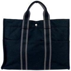Hermes Paris Black Gray Cotton Fourre Tout MM Tote Bag