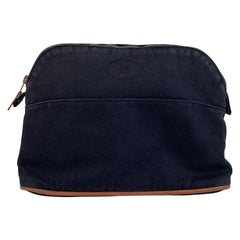 Hermes Paris Blue Cotton Canvas Bolide Travel Case Cosmetic Bag
