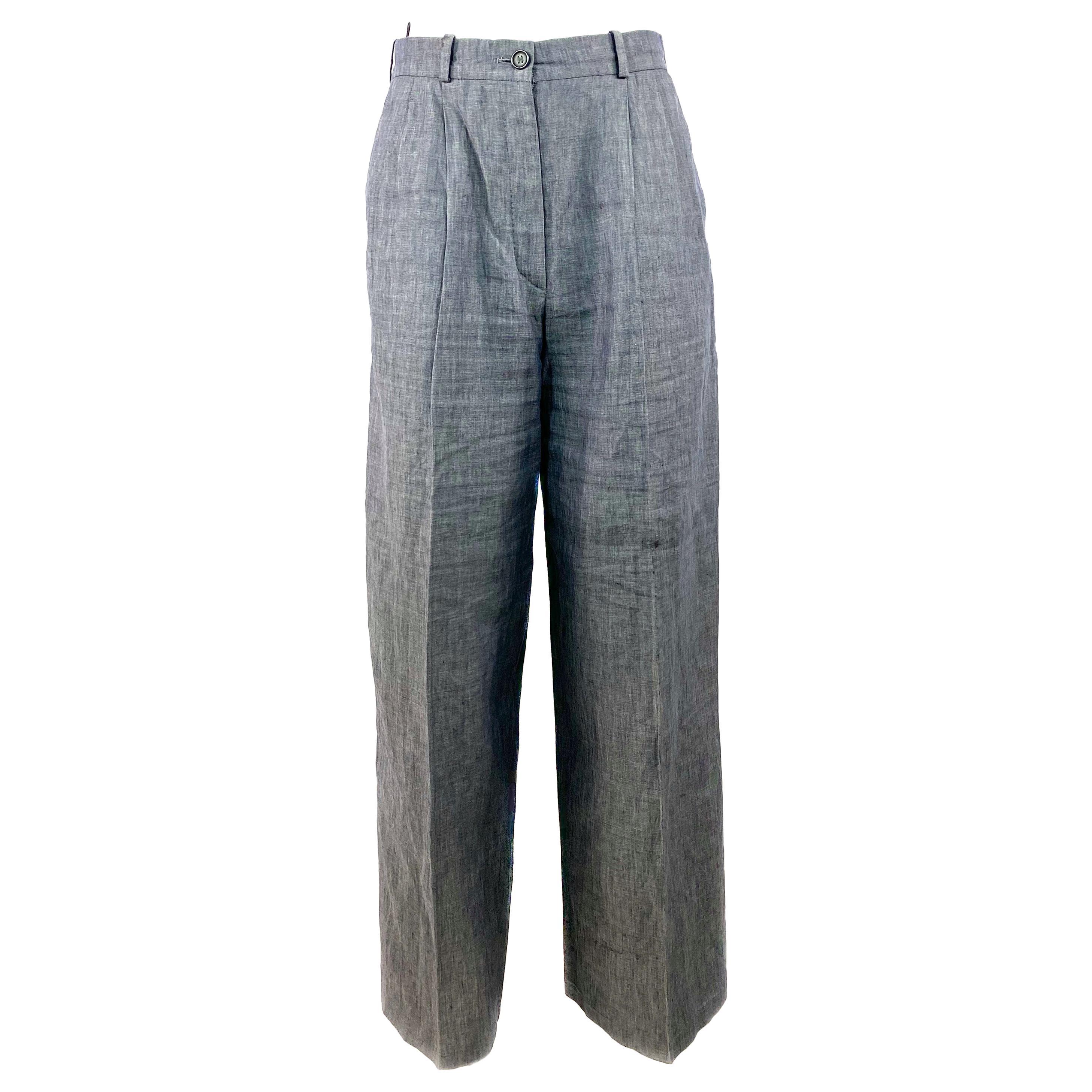 HERMES Paris Blue Linen Straight Trousers Pants Size 38