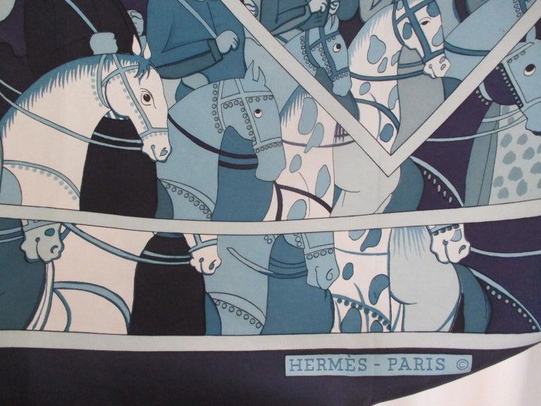 Hermes Paris Blue Silk Scarf