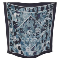 "Hermes Paris Blue Silk Scarf ""Ali Baba"" by Pierre Peron"