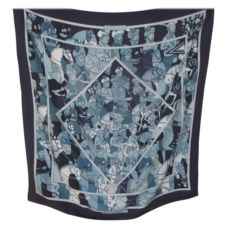 """Hermes Paris Blue Silk Scarf """"Ali Baba"""" by Pierre Peron  For Sale"""