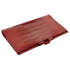Hermes Paris Braise Red Shiny Alligator Pocket Agenda Cover