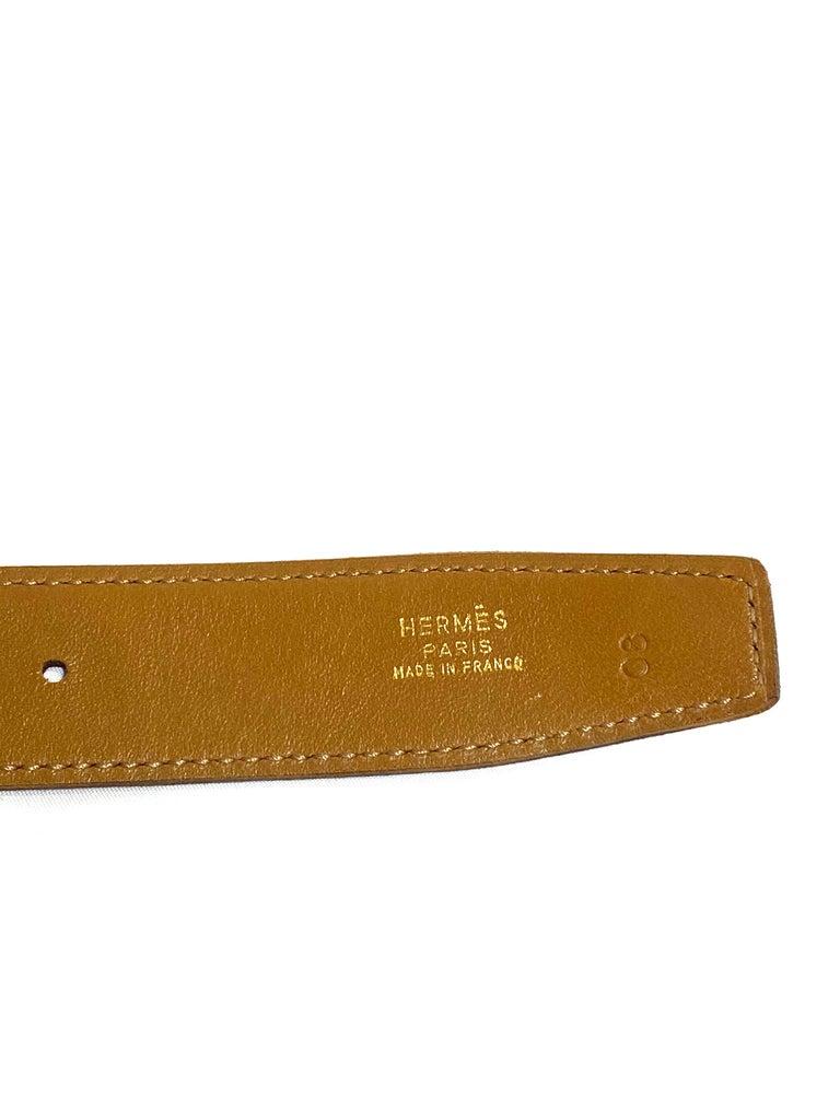 Black Hermes Paris Brown Leather Strap Belt Size  For Sale