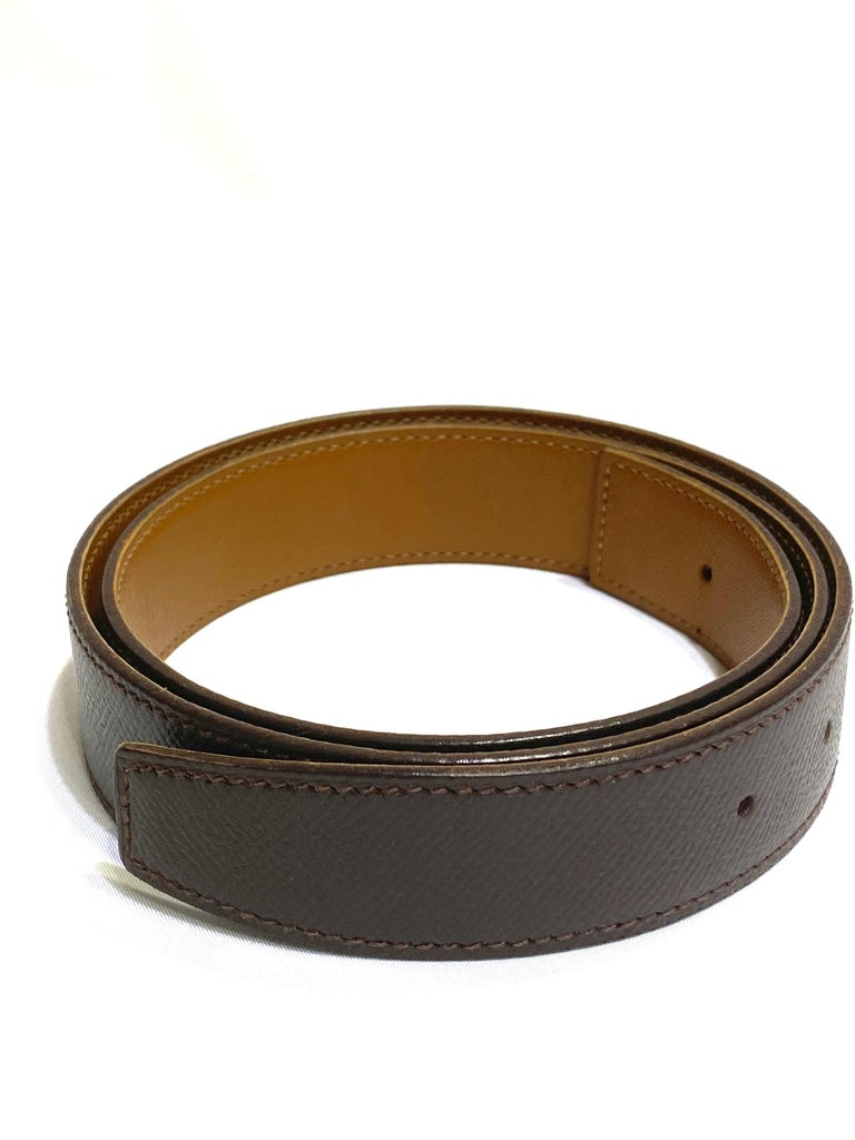 Hermes Paris Brown Leather Strap Belt Size  In Excellent Condition For Sale In Beverly Hills, CA