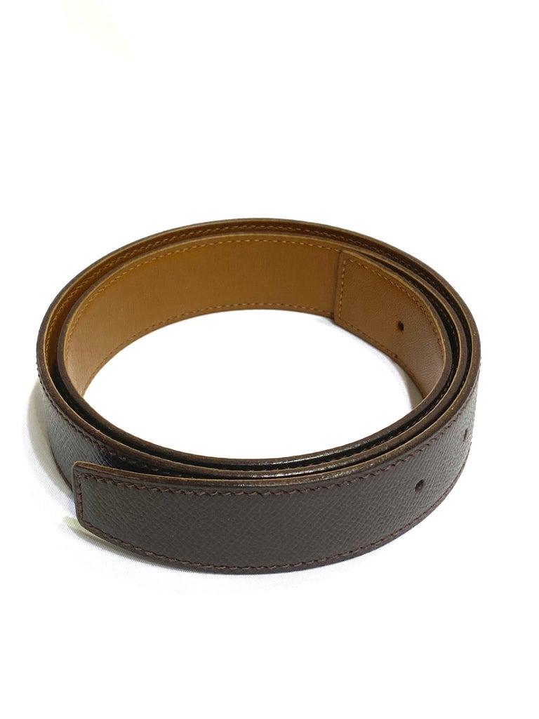 Hermes Paris Brown Leather Strap Belt Size  For Sale 2