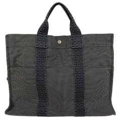 Hermes Paris Canvas Herline Her Line MM Tote Bag with Padlock