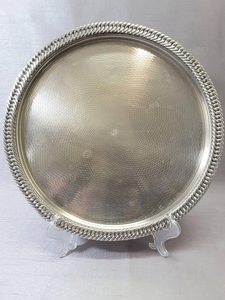 Hermès Paris Chain Link Silver Plated Tray For Sale 4