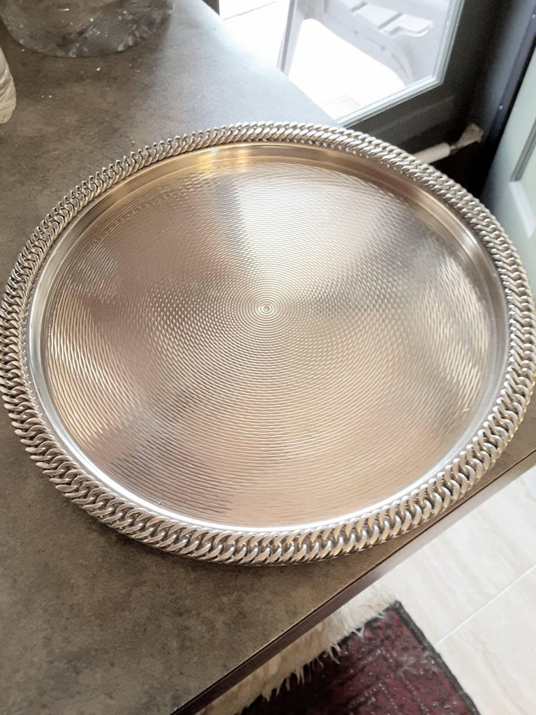 Mid-20th Century Hermès Paris Chain Link Silver Plated Tray For Sale