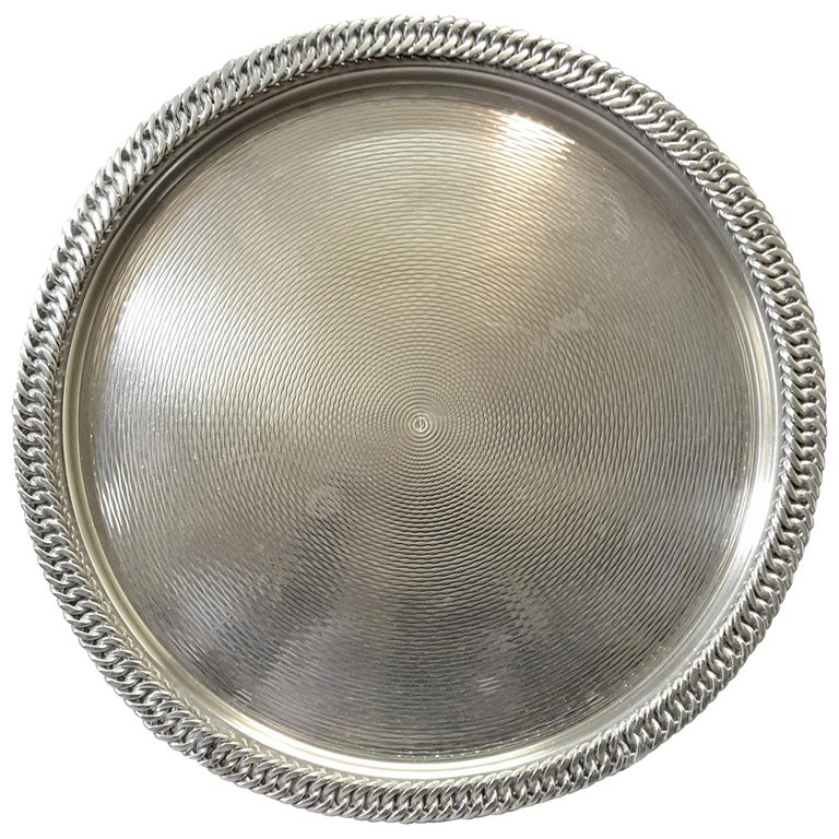 Hermès Paris Chain Link Silver Plated Tray For Sale