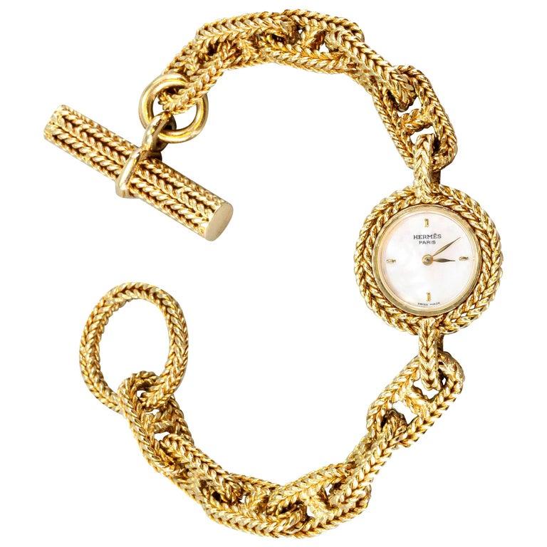 Hermès Paris Chaine D'Ancre Toggle Link 18 Karat Yellow Gold Wristwatch For Sale