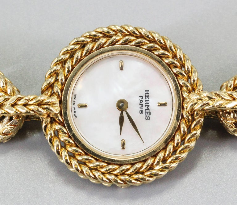 Hermès Paris Chaine D'Ancre Toggle Link 18 Karat Yellow Gold Wristwatch In Good Condition For Sale In New York, NY