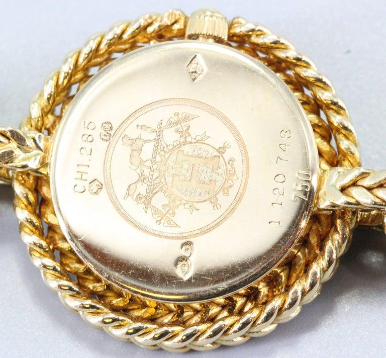 Women's Hermès Paris Chaine D'Ancre Toggle Link 18 Karat Yellow Gold Wristwatch For Sale