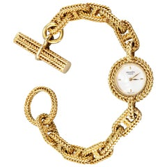 Hermes Paris Chaine D'Ancre Toggle Link Yellow Gold Wristwatch
