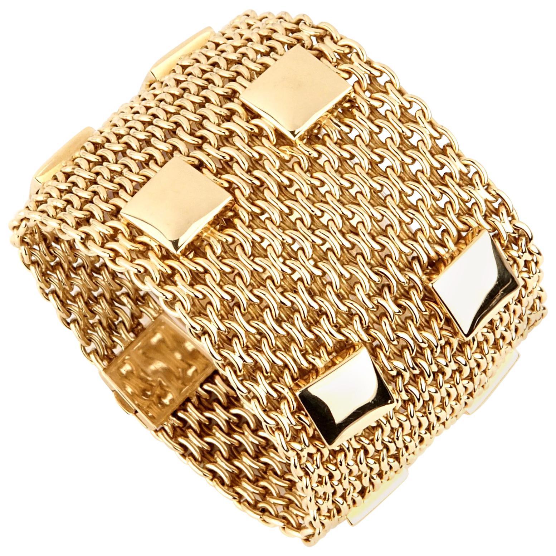 Hermes Paris Collier De Chien Mesh Gold Bracelet