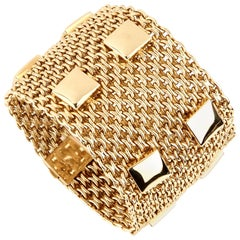 Hermes Paris Collier De Chien Mesh Gold Bracelet