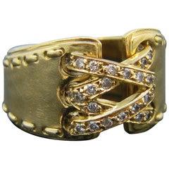 Hermes Paris Corset Stitch Diamonds Yellow Gold Ring