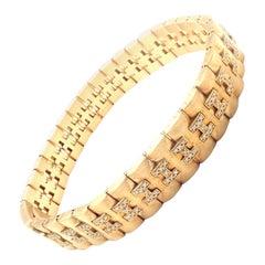 Hermes Paris Diamond Gold H Link Bracelet