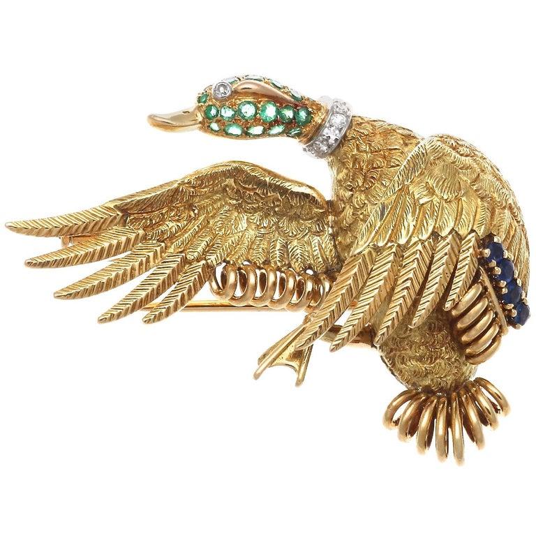 Hermes Paris Emerald Sapphire Diamond Gold Goose Brooch For Sale
