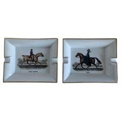Hermès Paris Equestrian Porcelain Ashtrays, Set of 2