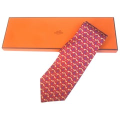 Hermes Paris Equestrian Print Red Silk Necktie in Hermes Box