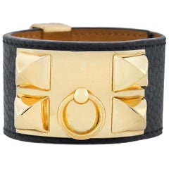 Hermes Paris Estate Collier de Chien Leather Adjustable Cuff Bracelet