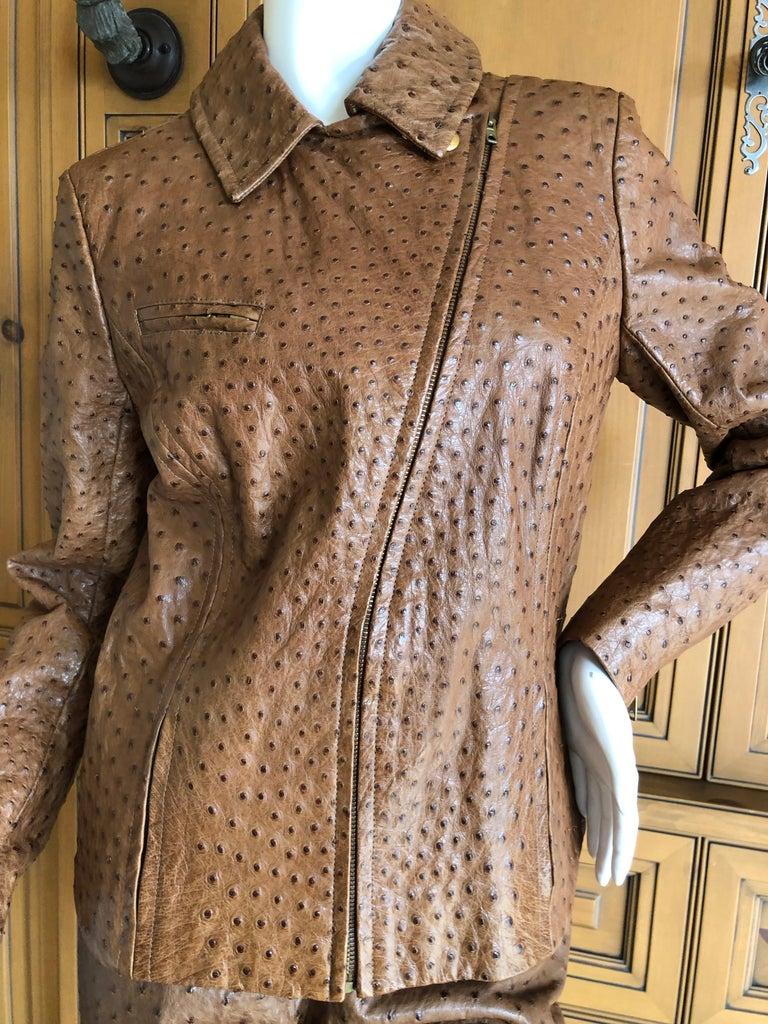 Hermes Paris Extraordinary Vintage Honey Brown Ostrich Motorcycle Jacket  2