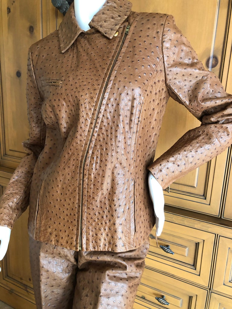 Hermes Paris Extraordinary Vintage Honey Brown Ostrich Motorcycle Jacket  3