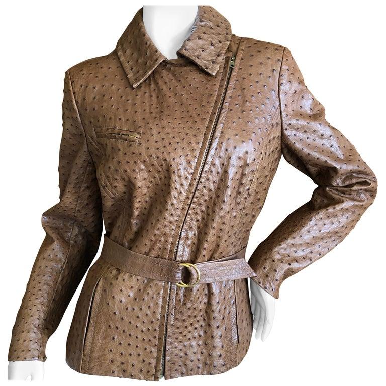 Hermes Paris Extraordinary Vintage Honey Brown Ostrich Motorcycle Jacket