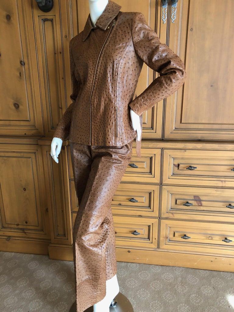 Hermes Paris Extraordinary Vintage Ostrich Motorcycle Suit Moto Jacket and Pants 6