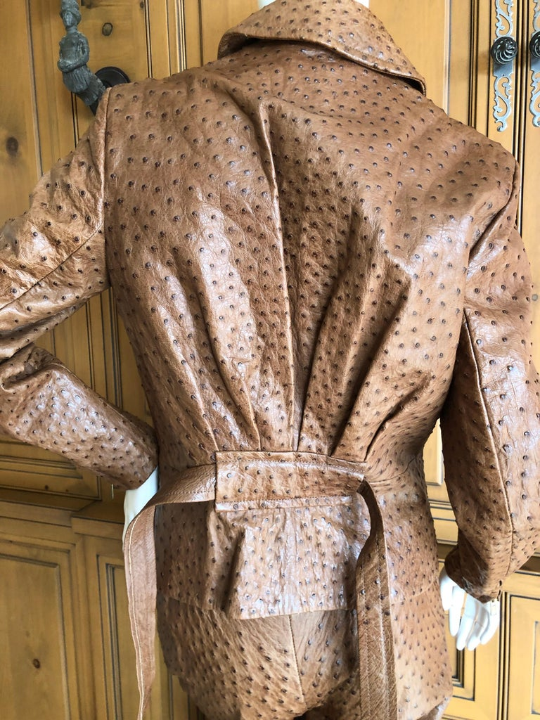 Hermes Paris Extraordinary Vintage Ostrich Motorcycle Suit Moto Jacket and Pants 8