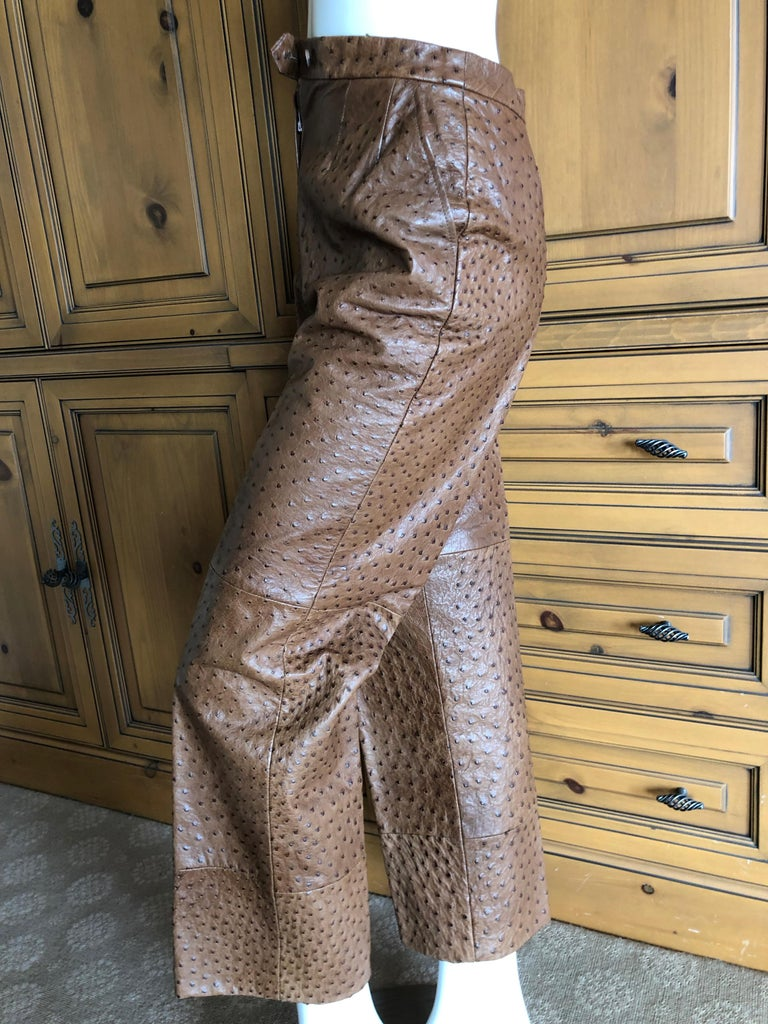 Hermes Paris Extraordinary Vintage Ostrich Motorcycle Suit  Includes Moto Jacket and Pants. This is a really special vintage suit. This is fully lined in Hermes silk H fabric. This is so beautifully made,  such attention to detail is remarkable. In
