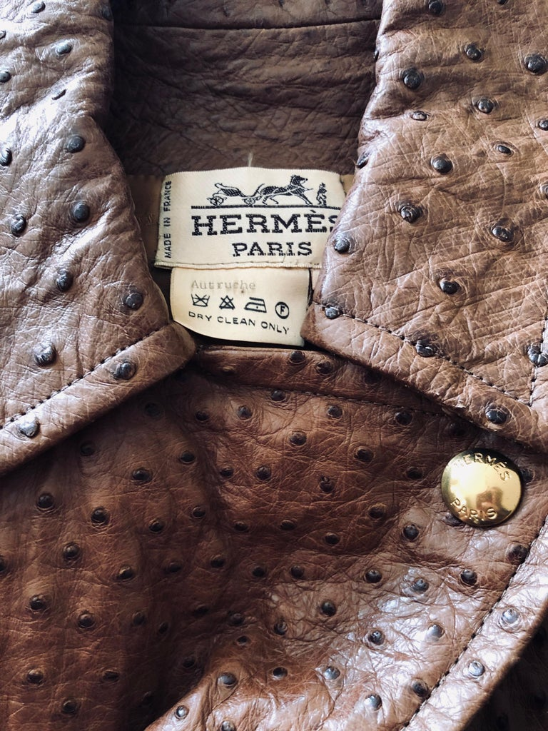 Women's or Men's Hermes Paris Extraordinary Vintage Ostrich Motorcycle Suit Moto Jacket and Pants