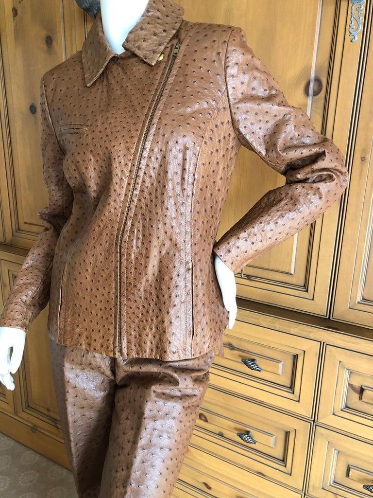 Hermes Paris Extraordinary Vintage Ostrich Motorcycle Suit Moto Jacket and Pants 4