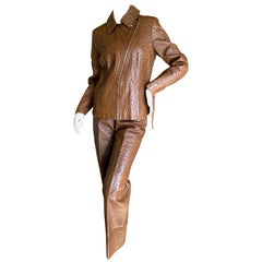 Hermes Paris Extraordinary Vintage Ostrich Motorcycle Suit Moto Jacket and Pants