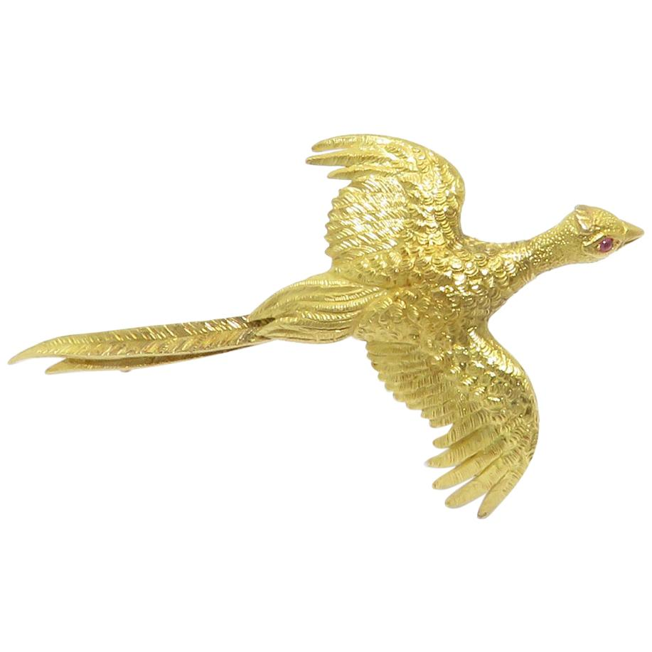 Hermès Paris Gold and Ruby Eye Pheasant Bird Brooch