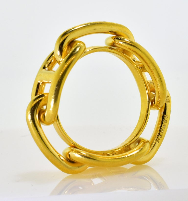 Hermes Paris high yellow gold color ring or scarf ring.  Known for their classic equestrian motifs for all their items, this ring is one that is not seen often.  It can be worn as a finger ring (Size 8), or as a scarf ring.  In high yellow gold