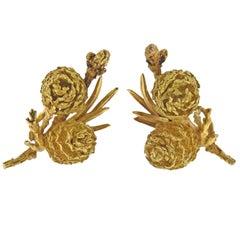 Hermes Paris Gold Pine Conifer Cone Earrings