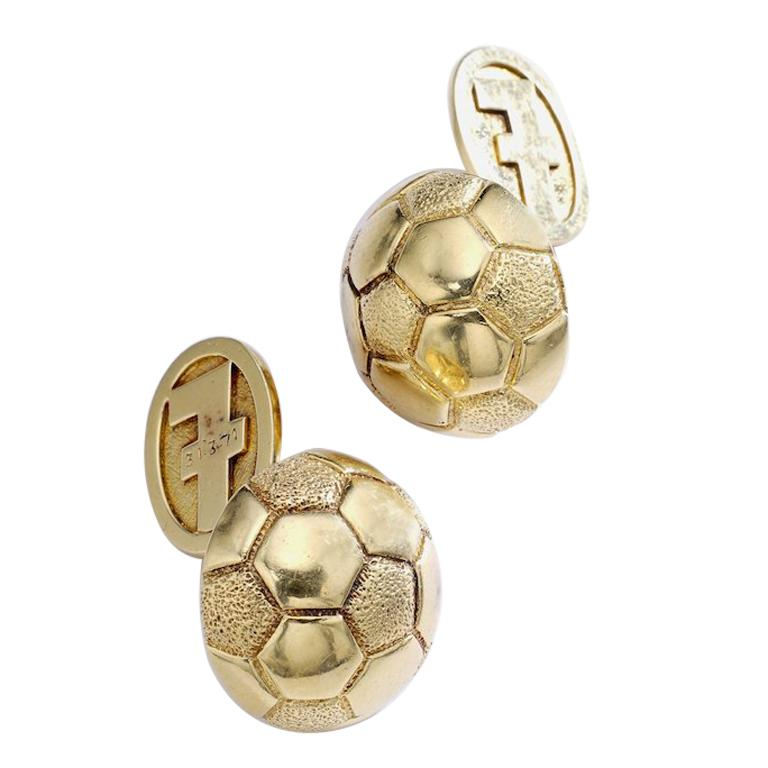 Hermes Paris Gold Soccer Ball Cufflinks For Sale