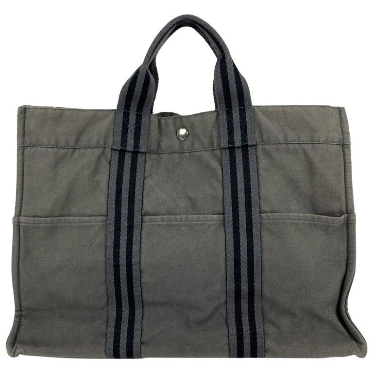Hermes Paris Gray Black Stripes Cotton Fourre Tout MM Tote Bag
