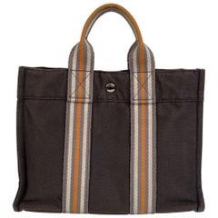 Hermes Paris Gray Canvas Fourre Tout PM Bag Ginza 2001 Limited Ed