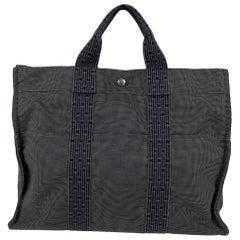 Hermes Paris Gray Canvas Herline Her Line MM Tote Bag Handbag