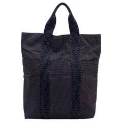 Hermes Paris Gray Canvas Vertical Herline Her Line Shopping Bag