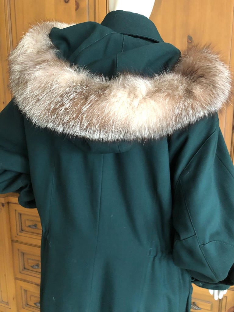 Hermes Paris Green Fur Lined Parka with Detachable Fox Trim Hood 6