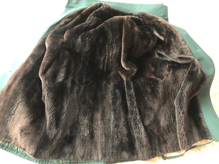Hermes Paris Green Fur Lined Parka with Detachable Fox Trim Hood 7