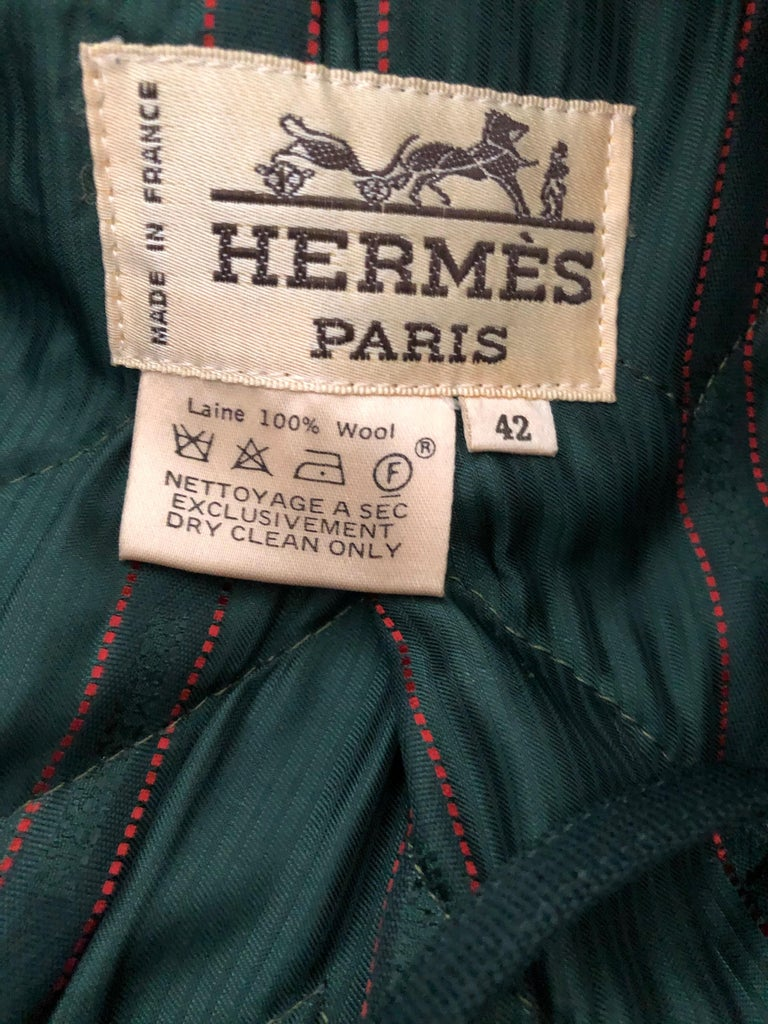 Hermes Paris Green Fur Lined Parka with Detachable Fox Trim Hood. This is so beautifully made,  such attention to detail is remarkable. The inside is lined in Nutria fur, and the detachable hood is edged in fox. Hermes designed beautiful leather