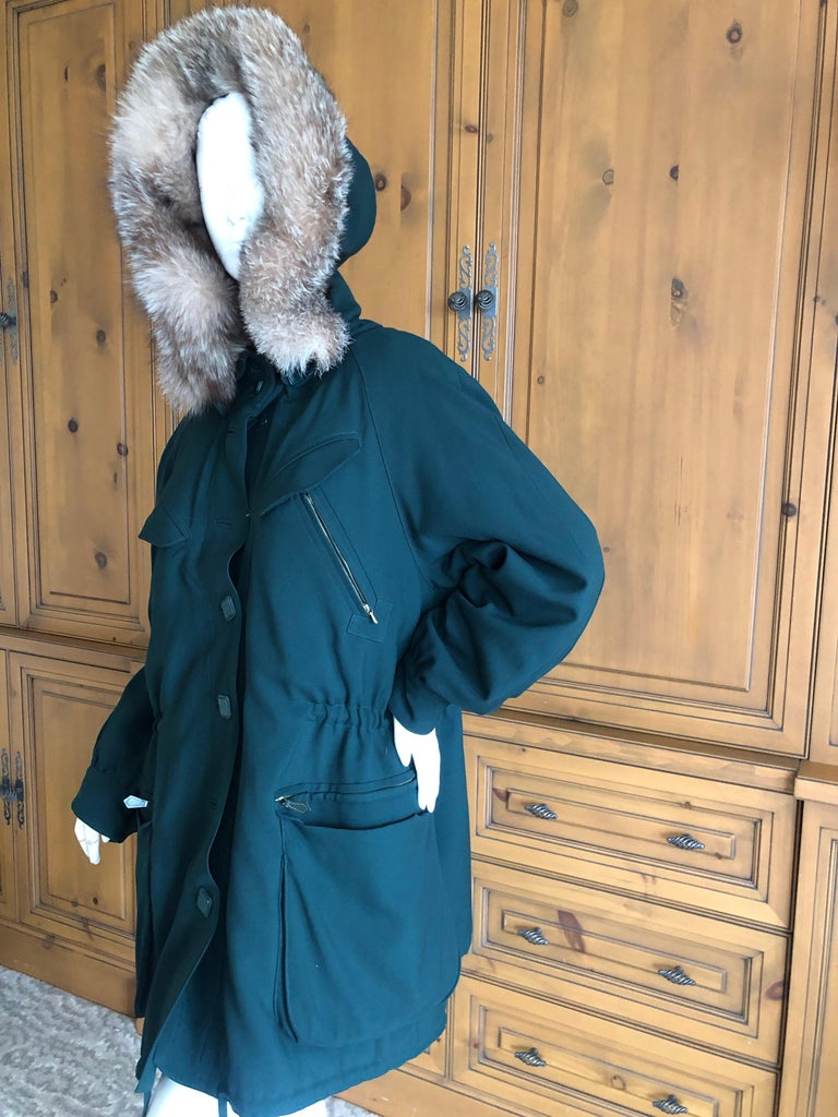 Hermes Paris Green Fur Lined Parka with Detachable Fox Trim Hood In Excellent Condition In San Francisco, CA
