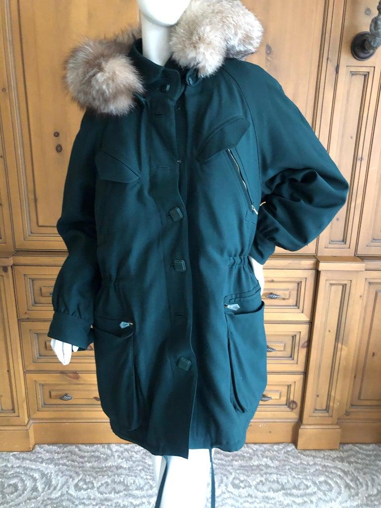 Women's or Men's Hermes Paris Green Fur Lined Parka with Detachable Fox Trim Hood
