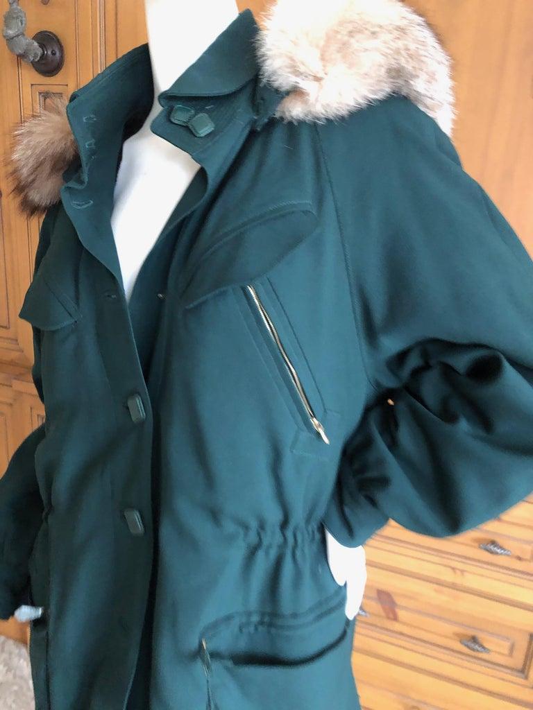Hermes Paris Green Fur Lined Parka with Detachable Fox Trim Hood 1