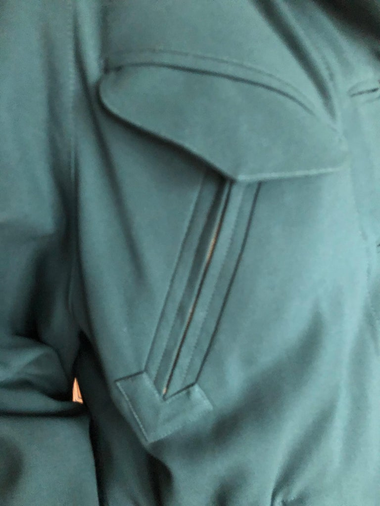 Hermes Paris Green Fur Lined Parka with Detachable Fox Trim Hood 2